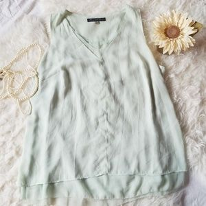 Mint Color Plus Size Polyester Tank